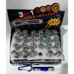 X-1809 LED фонарик брелок +лазер большой